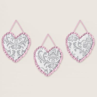 Sweet Jojo Designs Elizabeth 3-Piece Wall Hanging Set in Pink/Grey