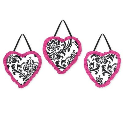 Sweet Jojo Designs Isabella 3-Piece Wall Hanging Set in Pink/Black/White