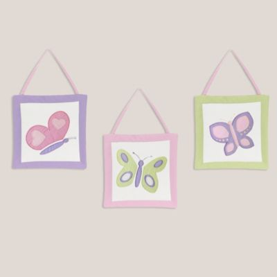 Sweet Jojo Designs Butterfly 3-Piece Wall Hanging Set in Pink/Purple
