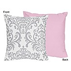 Sweet Jojo Designs Elizabeth Decorative Pillow in Pink/Grey