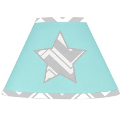 Sweet Jojo Designs Zig Zag Lamp Shade in Turquoise/Grey