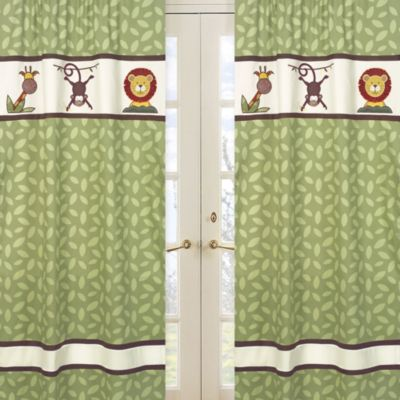 Sweet Jojo Designs Jungle Time Window Panels in Leaf Print