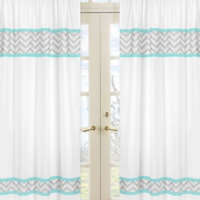 Sweet Jojo Designs Zig Zag Window Panel Pair in Turquoise/Grey