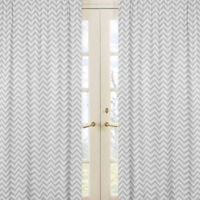 Sweet Jojo Designs Zig Zag Window Curtain Panel Pair in Grey/White