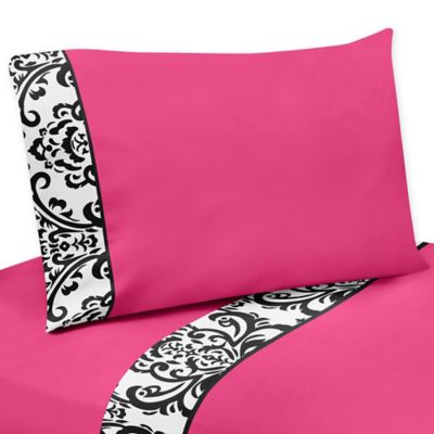 Sweet Jojo Designs Isabella Twin Sheet Set in Hot Pink/Black/White