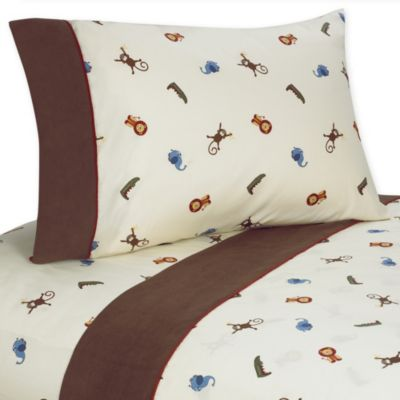 Sweet Jojo Designs Jungle Time Twin 3-Piece Sheet Set