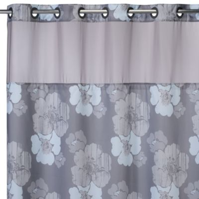 Hookless® 71-Inch x 74-Inch Hibiscus Floral Shower Curtain and Liner in Grey and Blue