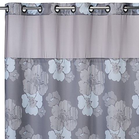 Hookless 71 Inch X 74 Inch Hibiscus Floral Shower Curtain And Liner In Grey And Blue Bed Bath