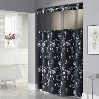 Hookless® 71-Inch x 74-Inch Fiona Shower Curtain and Liner in Black and White