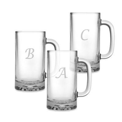Susquehanna Glass 16-Ounce Monogrammed Script Letter Beer Mugs (Set of 4)