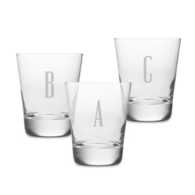 "Monogrammed Block Letter ""A"" Double Old Fashioned (Set of 4)"
