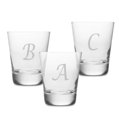 Susquehanna Glass 13.75-Ounce Monogram Script Letter Double Old Fashioned Glasses (Set of 4)