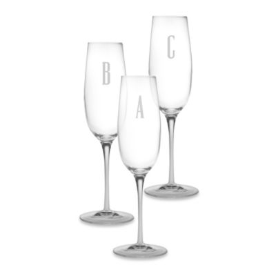 "Monogrammed Block Letter ""A"" Toasting Flute (Set of 4)"