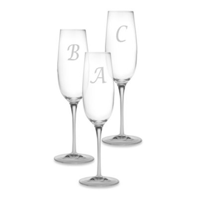 Susquehanna Glass Monogrammed Script Letter Toasting Flutes (Set of 4)