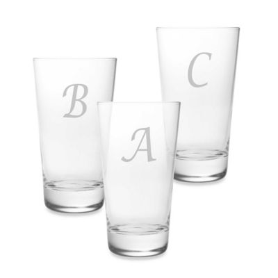 Susquehanna Glass Monogrammed Script Letter Highball (Set of 4)