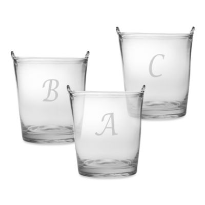 "Susquehanna Glass Monogram Script Letter ""A"" Ice Bucket"