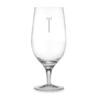 "Susquehanna Glass Monogrammed Block Letter ""T"" Iced Beverage (Set of 4)"