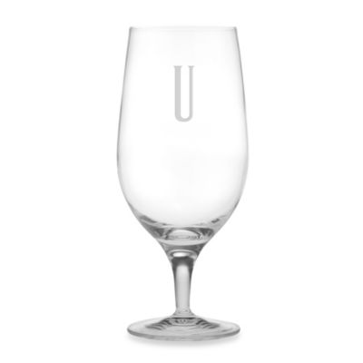 "Susquehanna Glass Monogrammed Block Letter ""U"" Iced Beverage (Set of 4)"