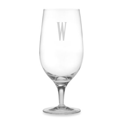 "Susquehanna Glass Monogrammed Block Letter ""W"" Iced Beverage (Set of 4)"