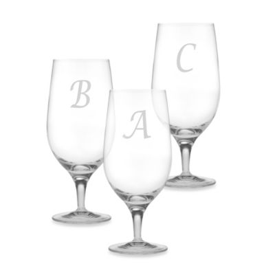 "Susquehanna Glass Monogrammed Block Letter ""A"" Iced Beverage (Set of 4)"