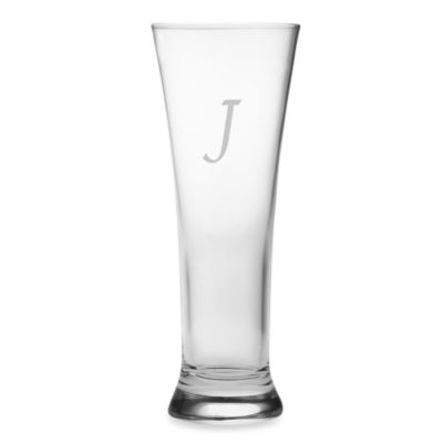 "Susquehanna Glass Monogrammed Block Letter ""J"" Pilsners (Set of 4)"