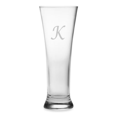 "Susquehanna Glass Monogrammed Block Letter ""K"" Pilsners (Set of 4)"