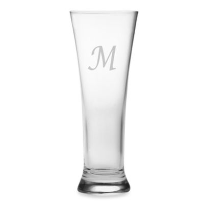 "Susquehanna Glass Monogrammed Block Letter ""M"" Pilsners (Set of 4)"