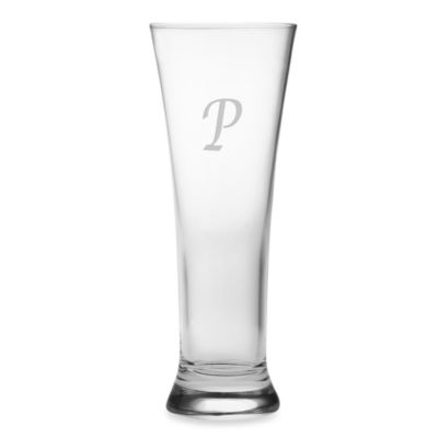 "Susquehanna Glass Monogrammed Block Letter ""P"" Pilsners (Set of 4)"