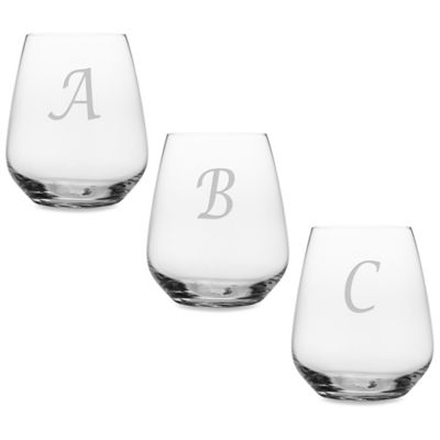"Monogrammed Script Letter ""A"" Stemless Wine Glass (Set of 4)"