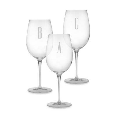 "Monogrammed Block Letter ""A"" Wine Glass (Set of 4)"