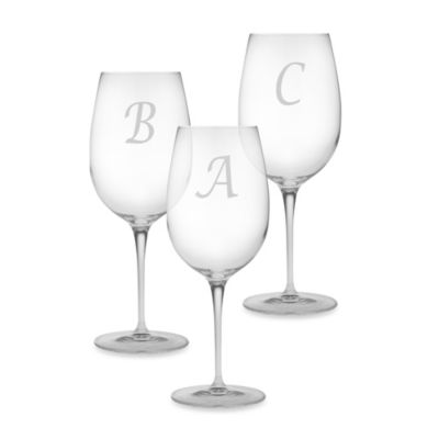 "Monogrammed Script Letter ""A"" Wine Glass (Set of 4)"