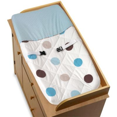 Sweet Jojo Designs Mod Dots Changing Pad Cover in Blue/Chocolate