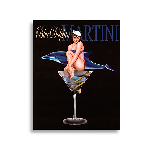 Martini Girls in Blue Dolphin  Wall Art