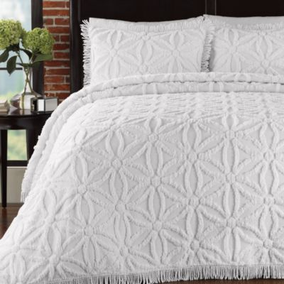 Arianna Twin Bedspread and Sham Set in White