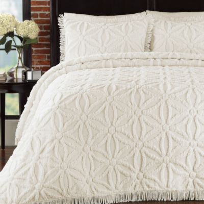 Arianna Twin Bedspread and Sham Set in Ivory