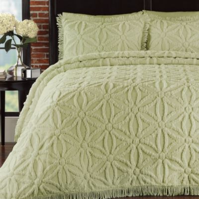 Arianna Twin Bedspread and Sham Set in Honeydew