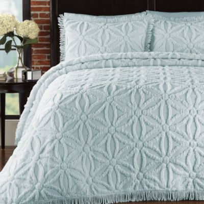 Arianna Twin Bedspread and Sham Set in Pearl Blue