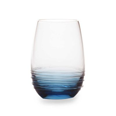Mikasa® Swirl Stemless Wine Glasses in Cobalt (Set of 4)
