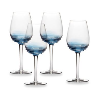 Mikasa® Swirl 10 1/2-Ounce White Wine Glass in Cobalt (Set of 4)