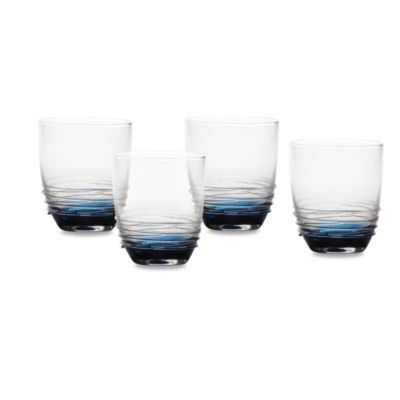 Mikasa® Swirl Double Old Fashioned Glasses in Cobalt (Set of 4)