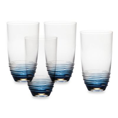 Mikasa® Swirl 20-Ounce High Ball Glass in Cobalt (Set of 4)