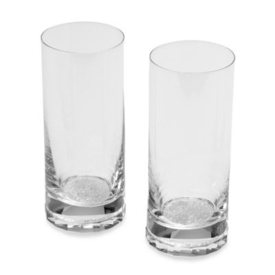 Oleg Cassini Crystal Diamond Highball Glass (Set of 2)