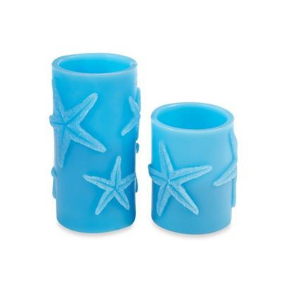 Blue Starfish Pillar 3-Inch x 4-Inch LED Candle