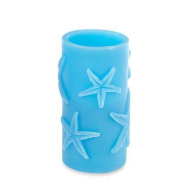 Blue Starfish Pillar 3-Inch x 6-Inch LED Candle
