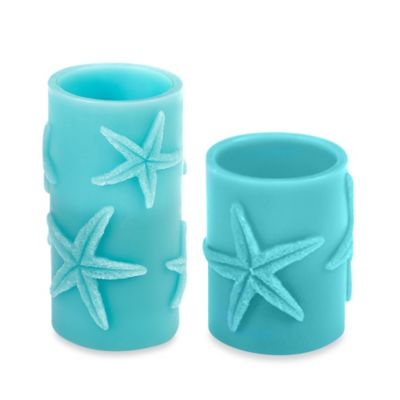 Aqua Starfish Pillar 3-Inch x 6-Inch LED Candle