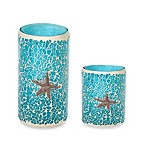 Aqua Mosaic Glass Pillar LED Candle