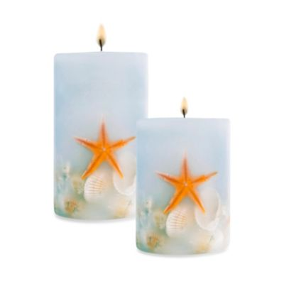 Coastal Pillar Light Blue Candle