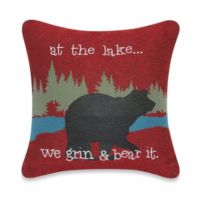 At the Lake We Grin and Bear It Tapestry Pillow in Red