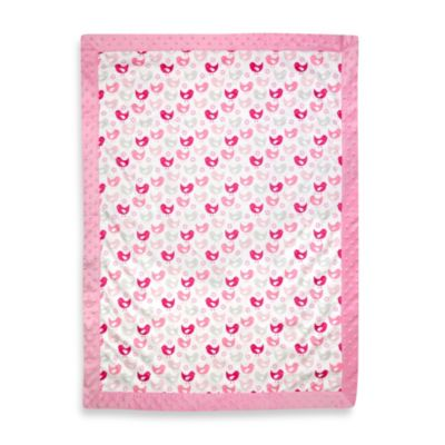 Just Born® Mix & Match Bird Velboa/Plush Blanket in Pink