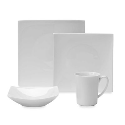 Fitz and Floyd® Nevaeh Hard White Square 4-Piece Dinnerware Set